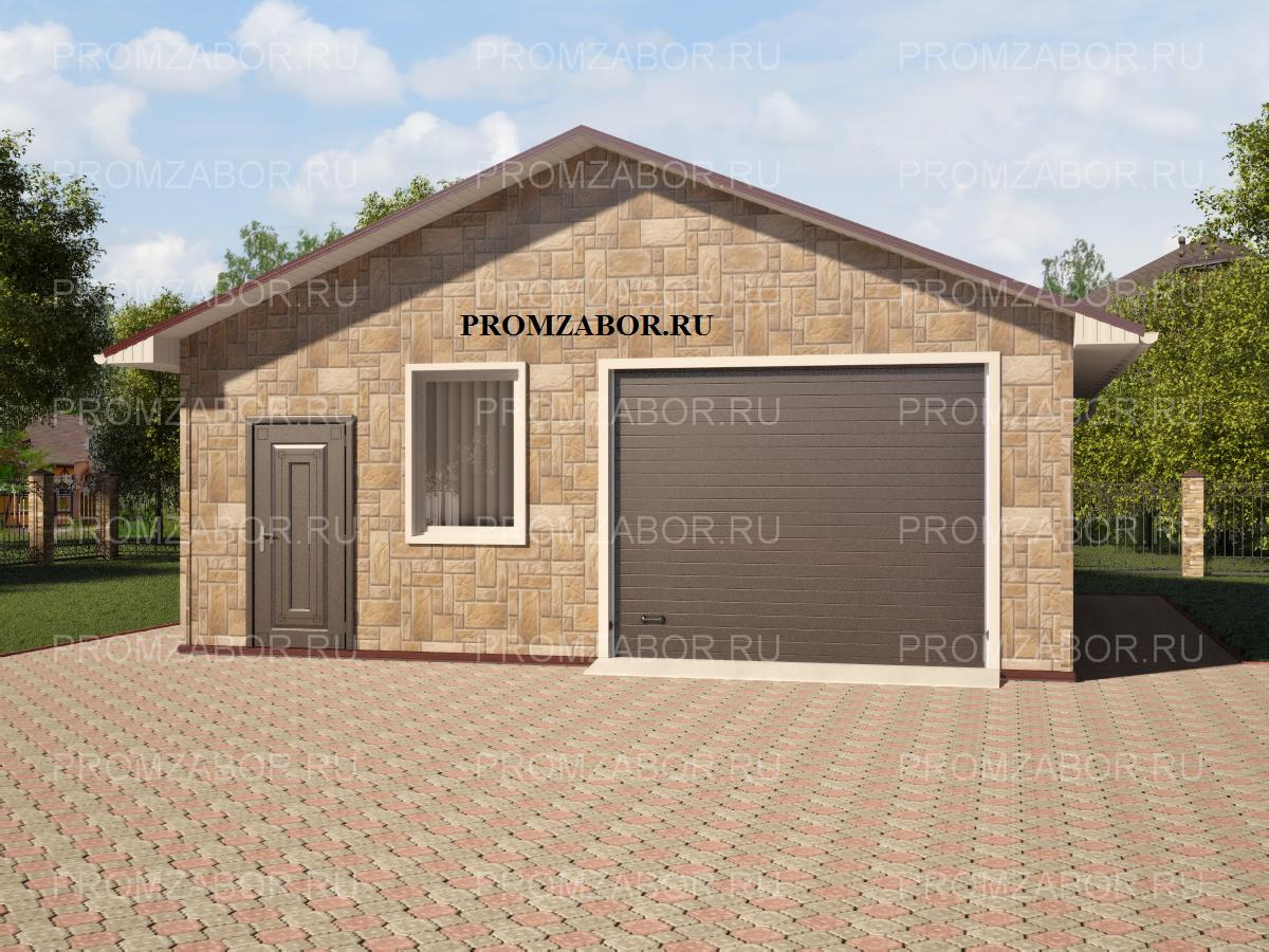 Заказать сборный металлический гараж, обшитый фасадными панелями